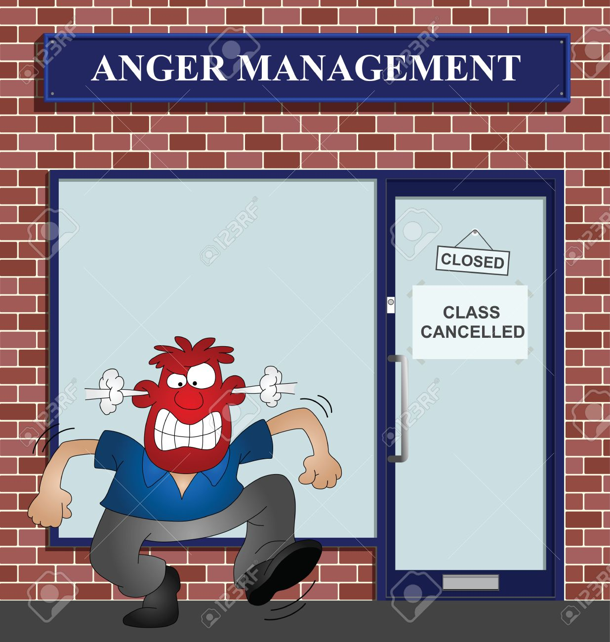 Angry man at the anger management help centre Stock Vector - 8599855