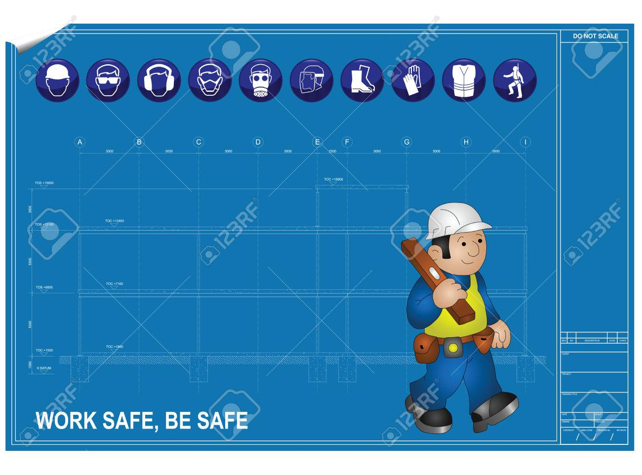 Construction health and Safety against blueprint drawing Stock Vector - 8809249