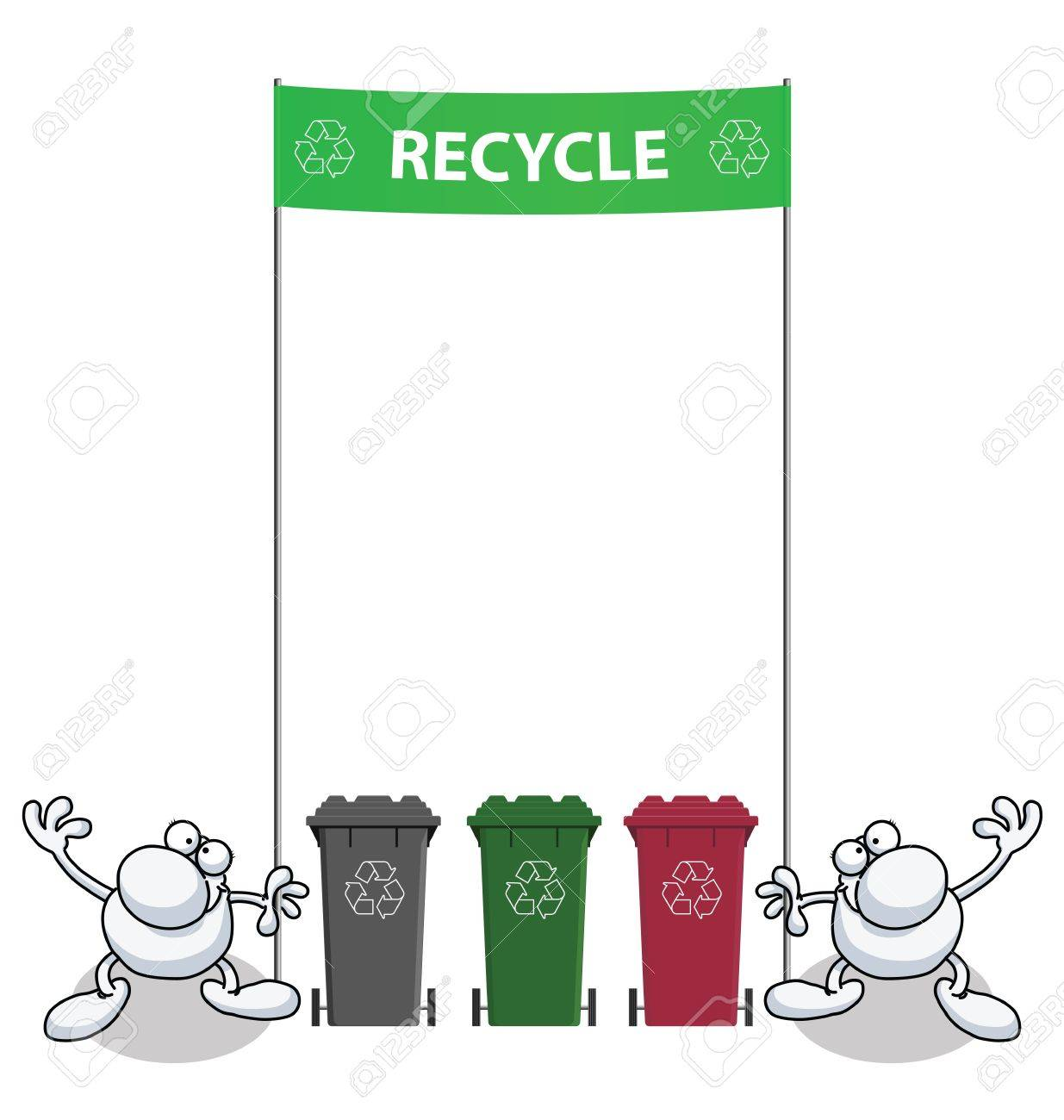 Men holding green banner with recycling message Stock Vector - 9693976
