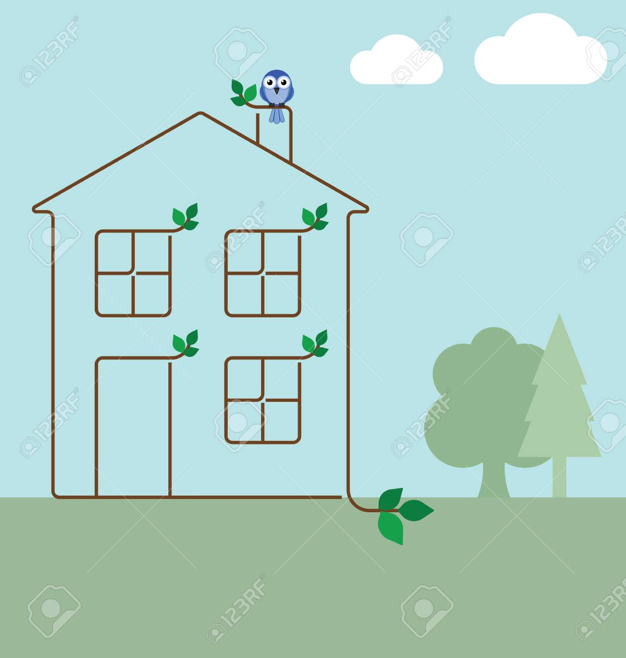 Green ecology house concept isolated on white background Stock Vector - 11077970