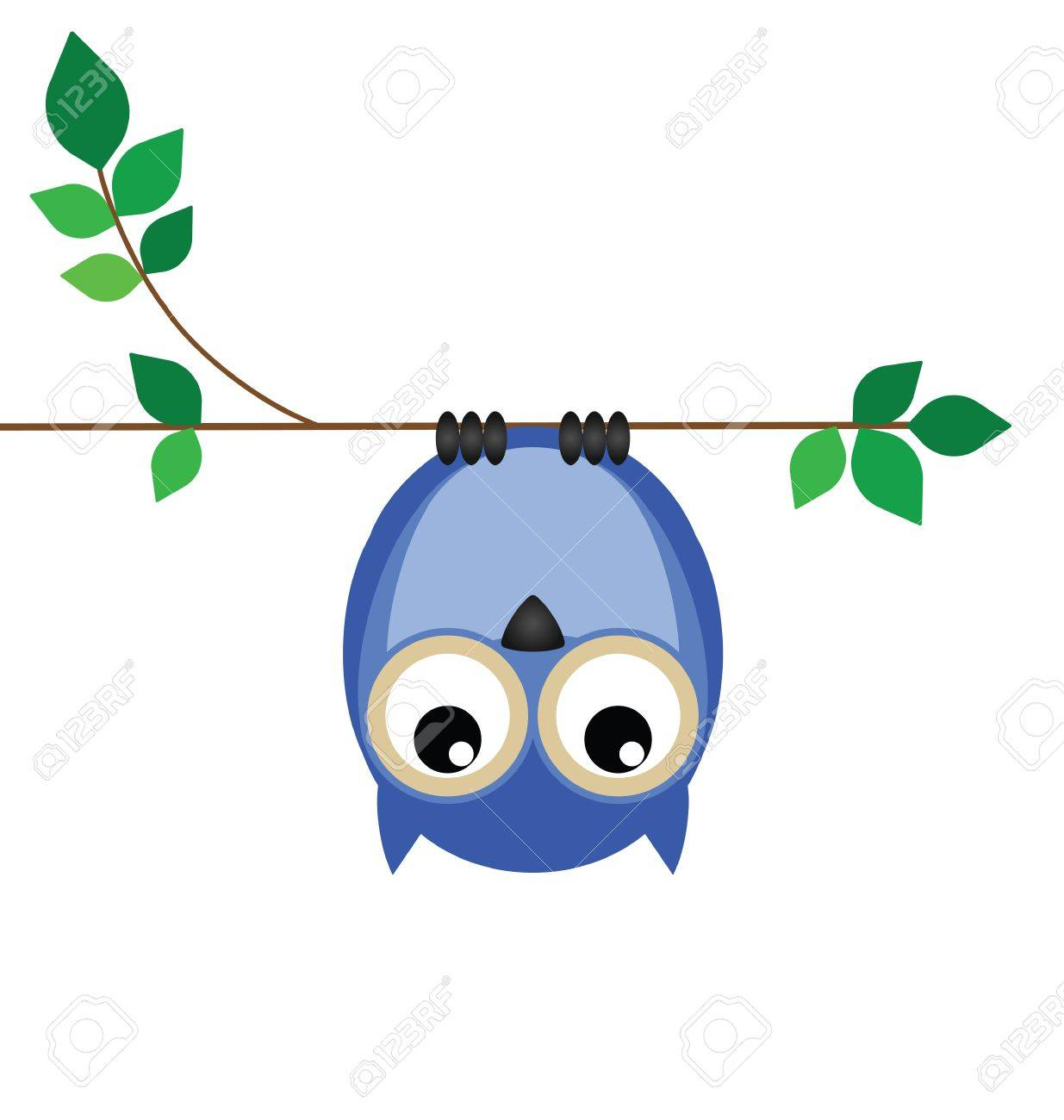 Upside down owl on a branch looking down Stock Vector - 11665902