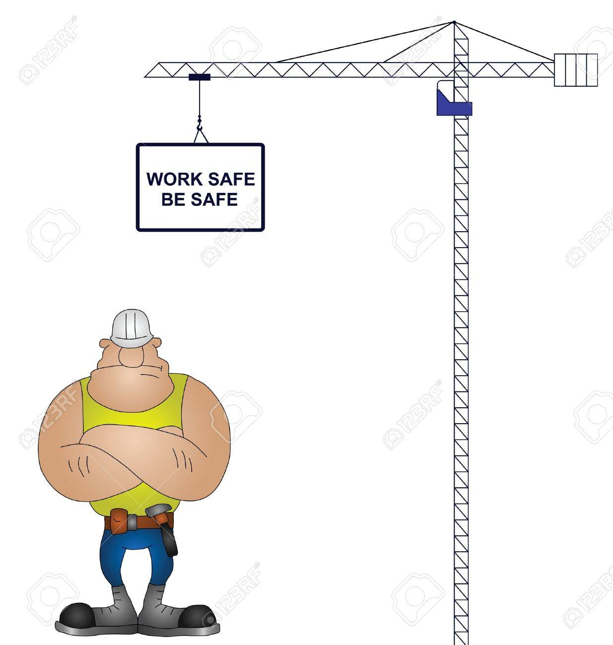 Crane health and safety message isolated on white background Stock Vector - 12048076