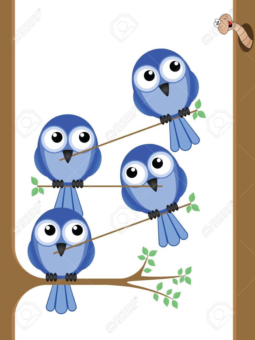 Bird teamwork to reach a worm for their lunch Stock Vector - 12197141