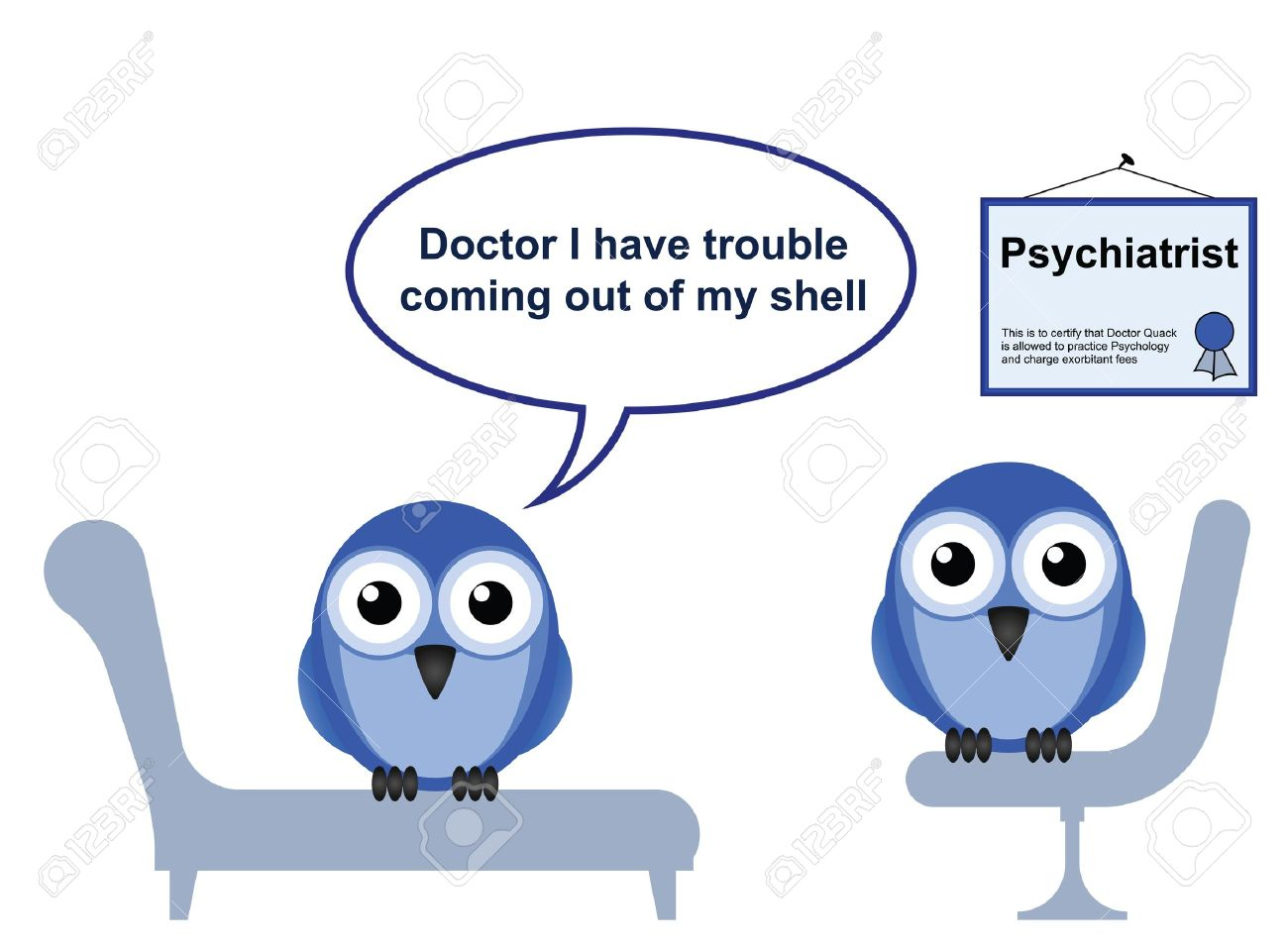 On the Psychiatrist couch with Doctor Quack and Shyness Stock Vector - 12481414