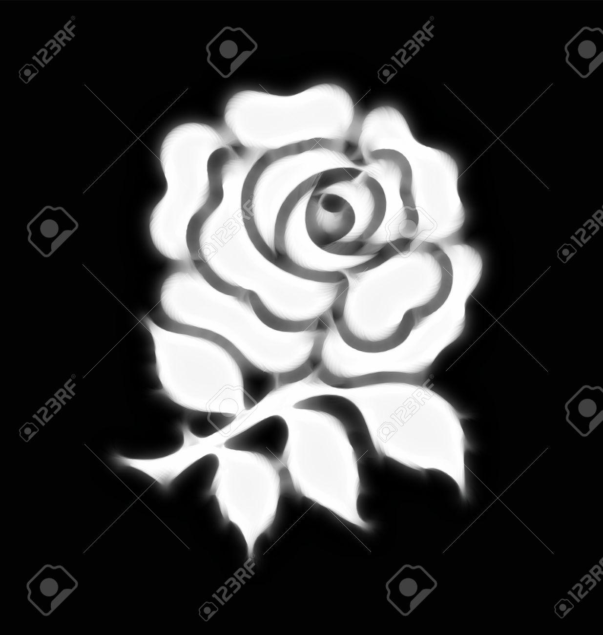 Abstract stylised national rose emblem of England on black background Stock Photo - 14129303