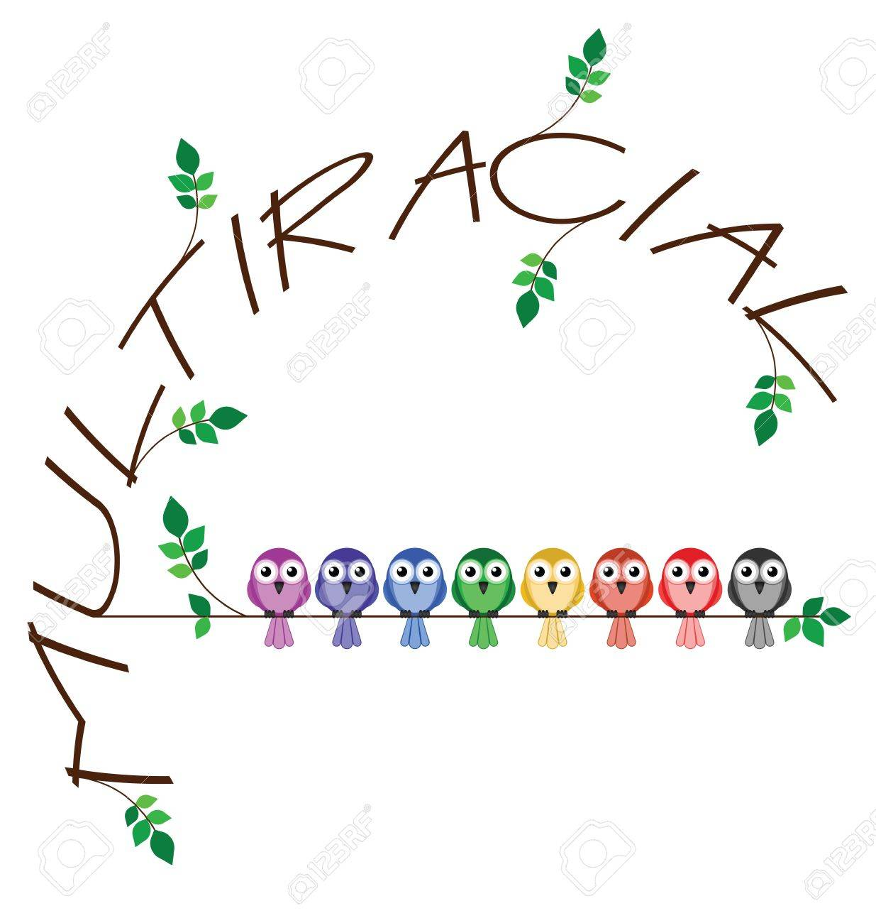 Multiracial twig text representing diversity in society Stock Vector - 14356056