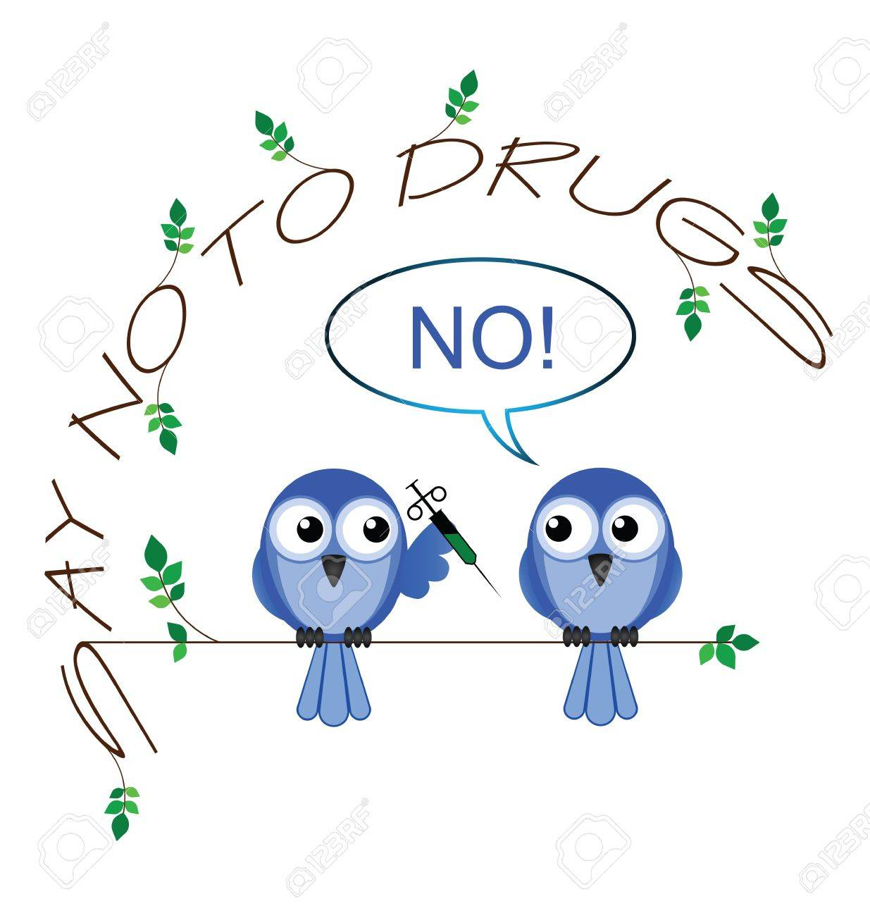 No to drugs twig text message isolated on white background Stock Vector - 14441078