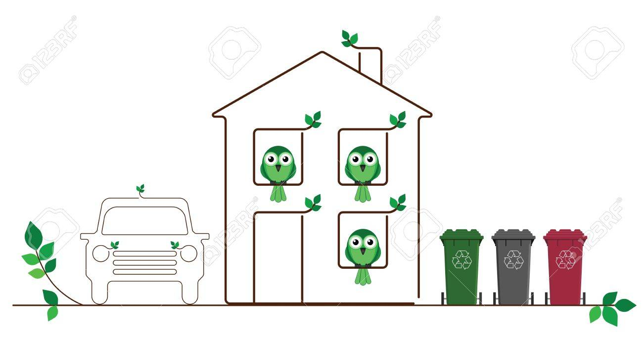 Eco friendly family isolated on white background Stock Vector - 14441077