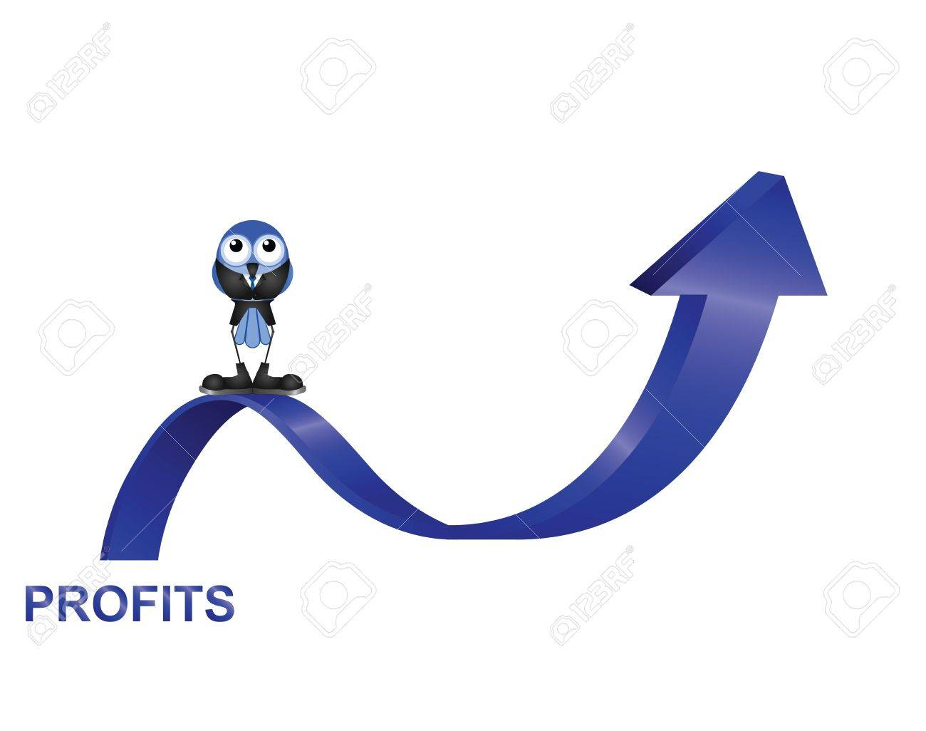 Comical bird businessman with profits up isolated on white background Stock Vector - 15082220