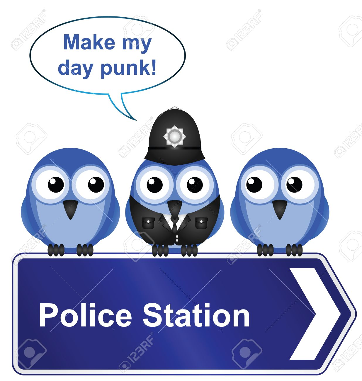 Comical police station sign isolated on white background Stock Vector - 15354160