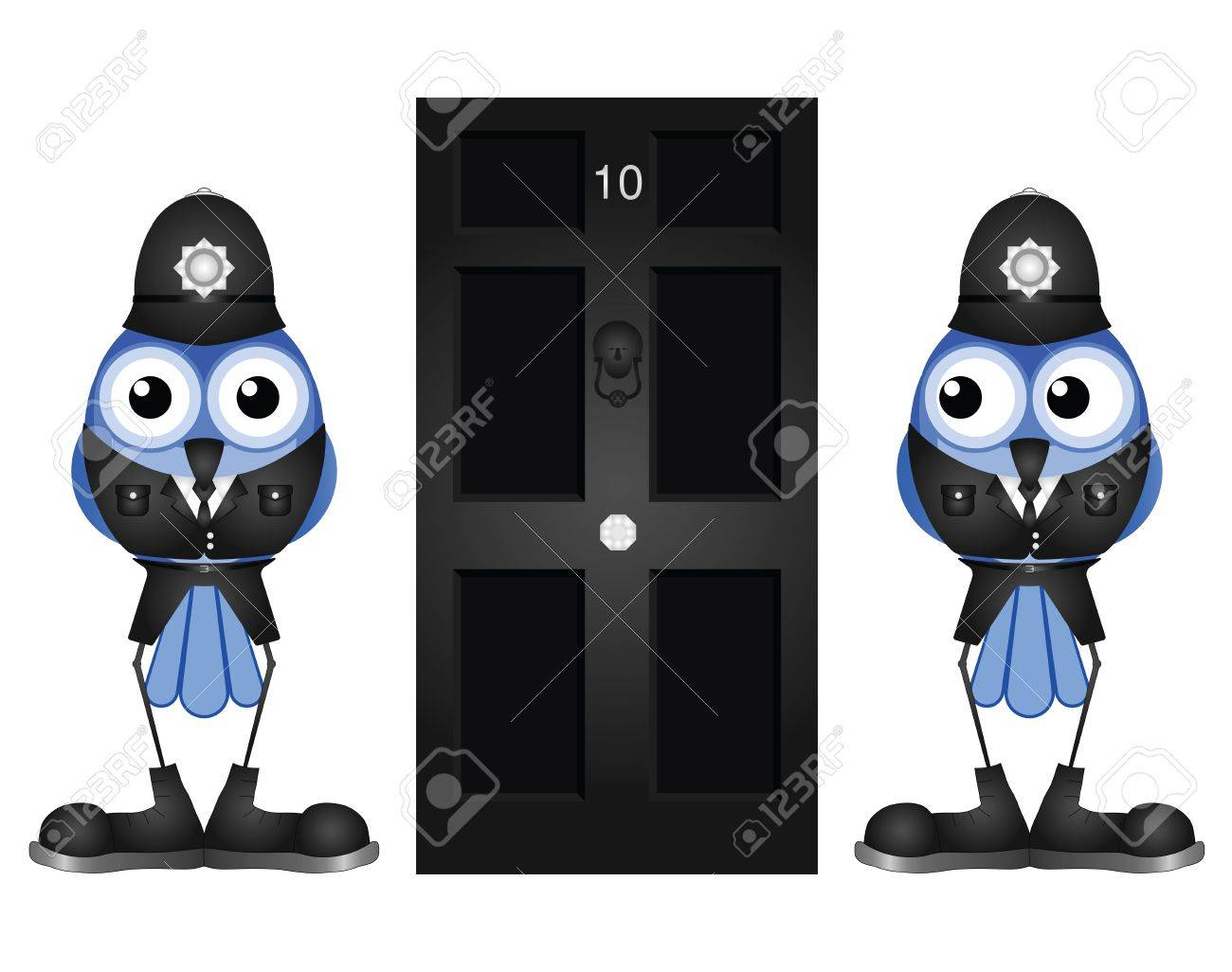 Comical policemen guarding a black door isolated on white background Stock Vector - 15398150
