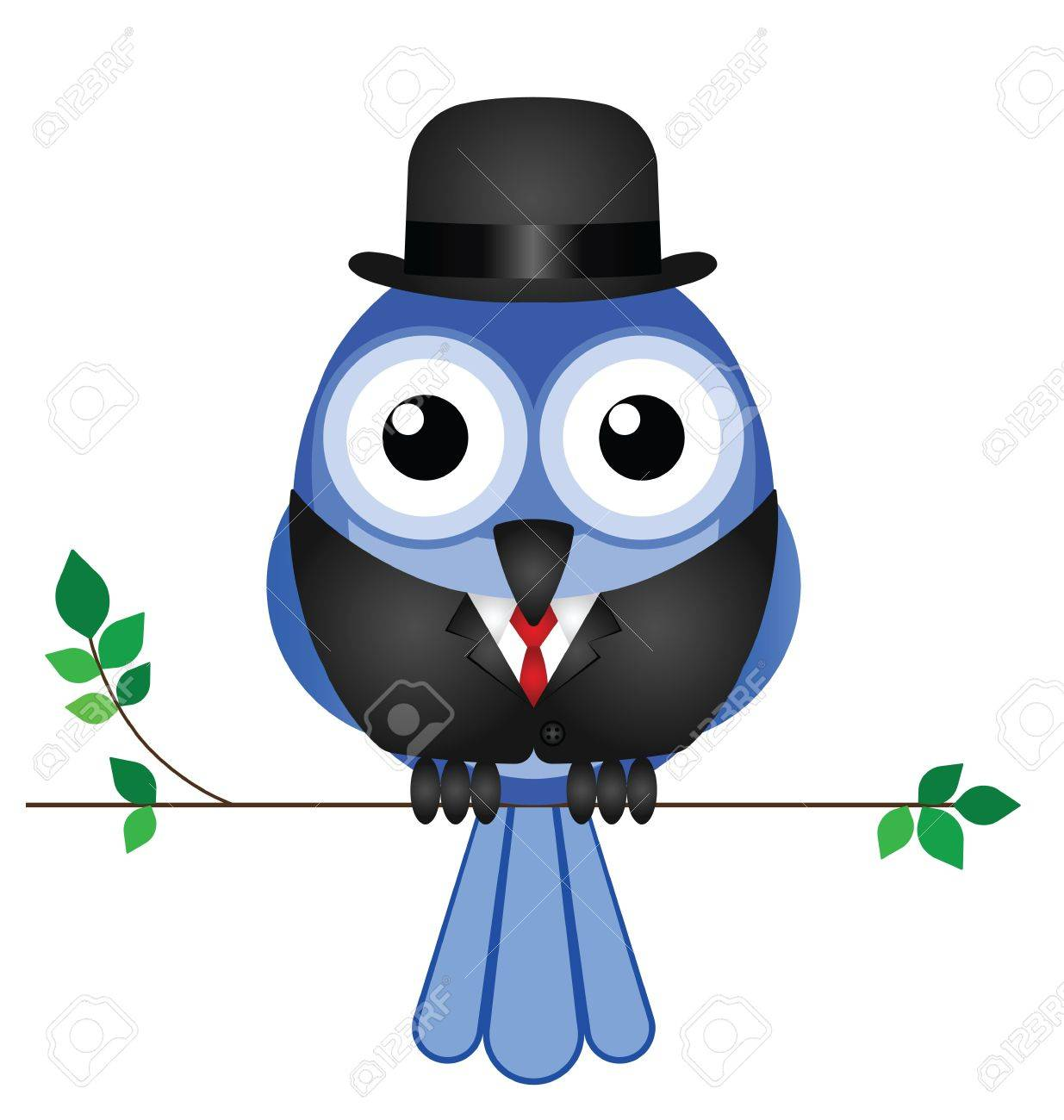 Comical bird businessman sat on a branch isolated on white background Stock Vector - 15462656