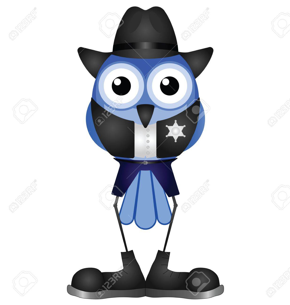 Comical bird American sheriff isolated on white background Stock Vector - 16016471