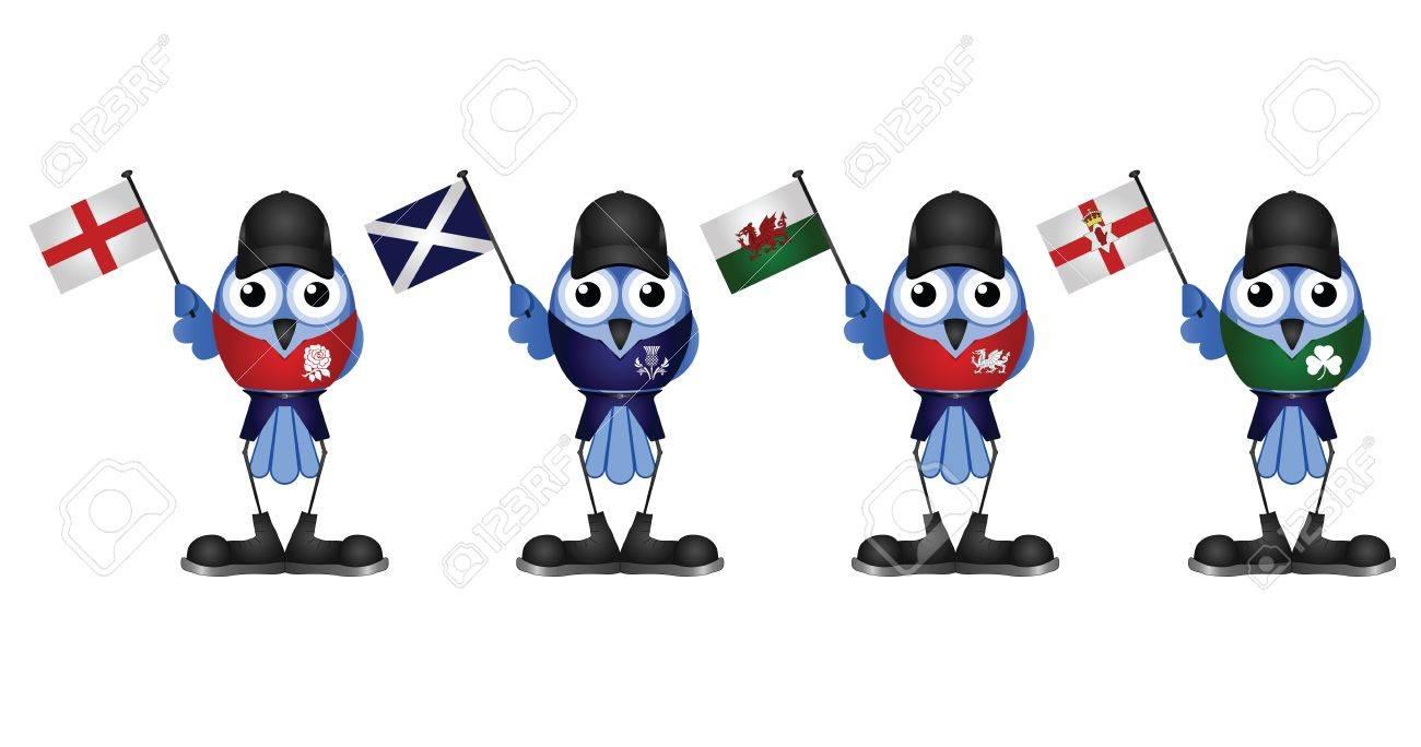 Comical patriotic birds of the United Kingdom Stock Vector - 16307803