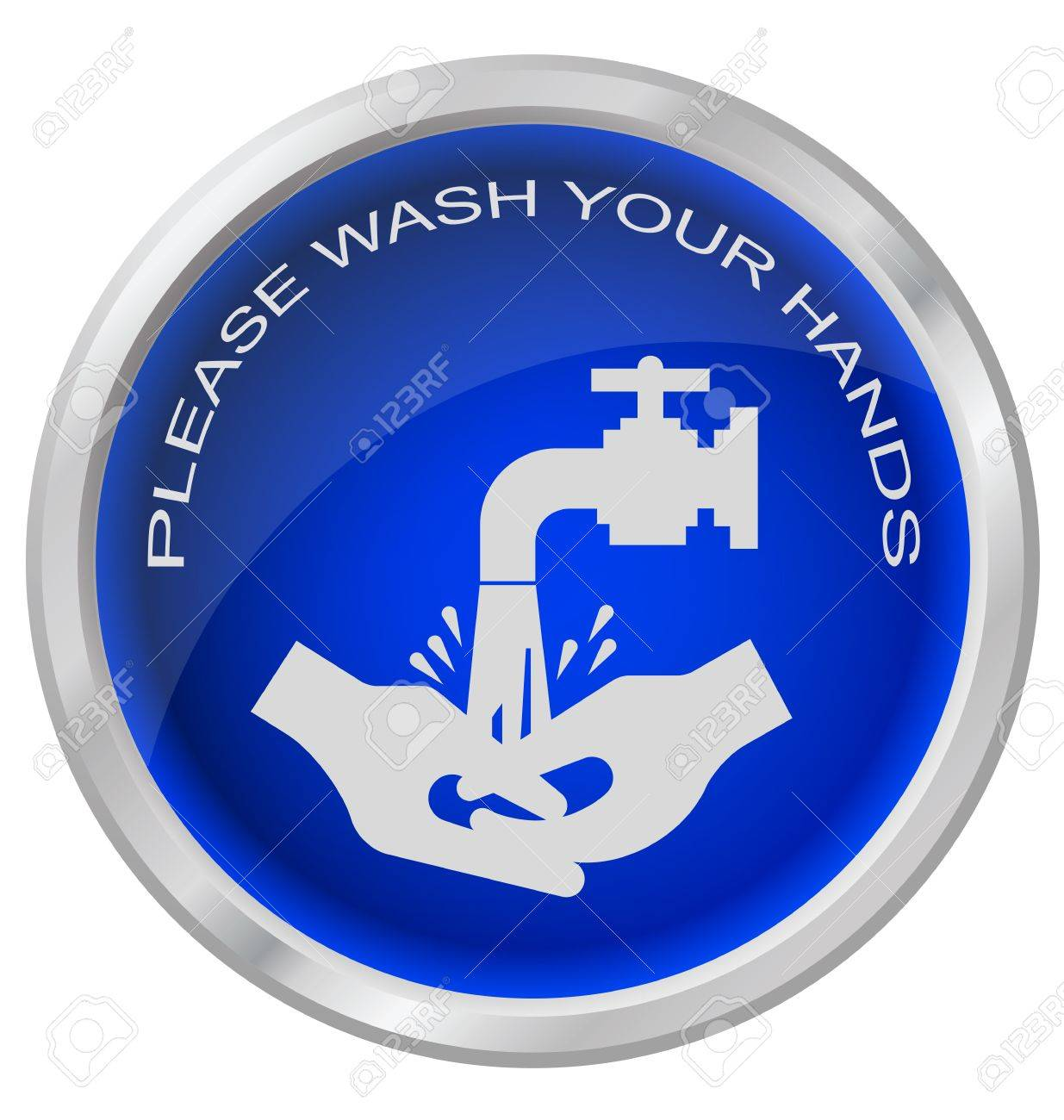 Wash hands button isolated on white background Stock Vector - 17872526