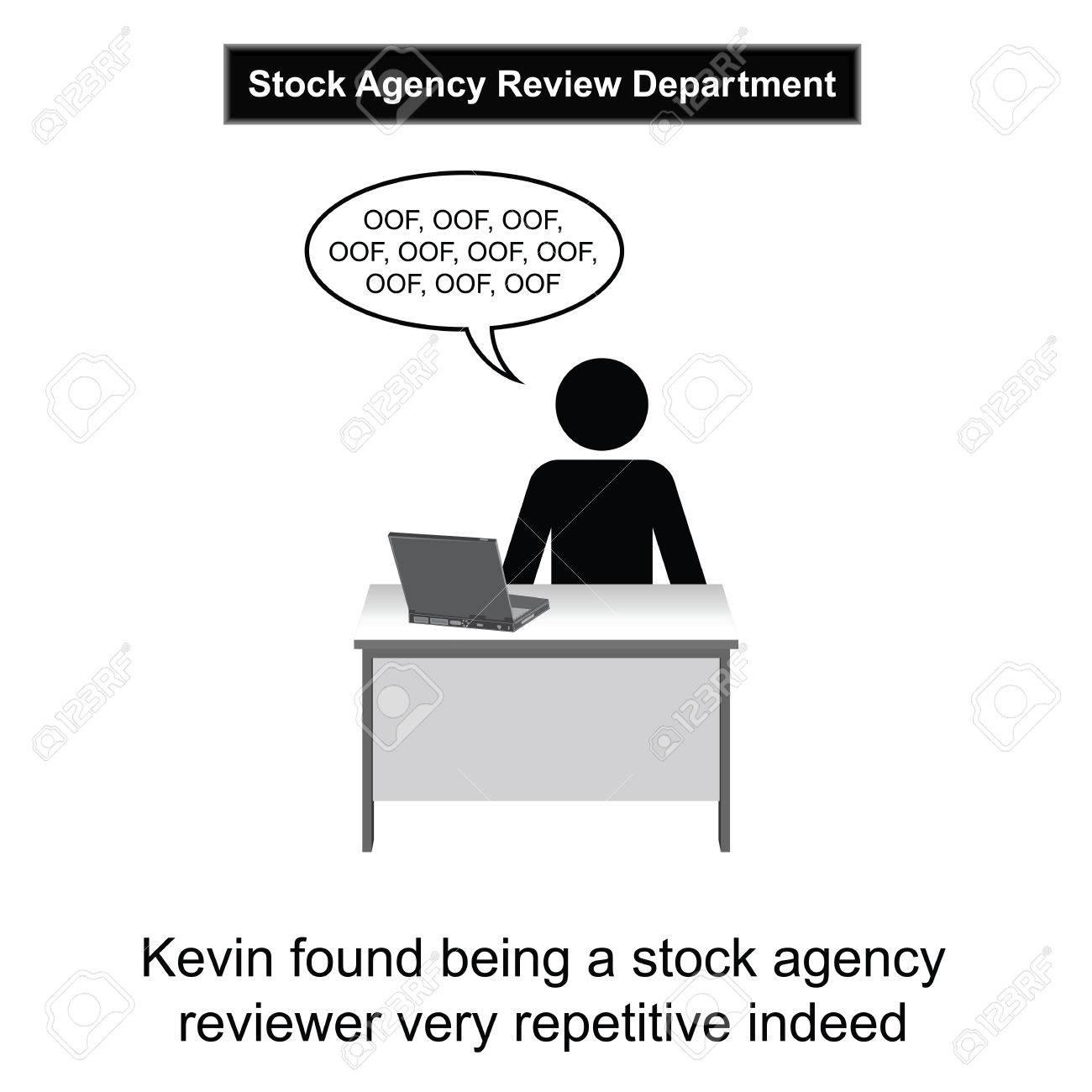 Kevin Kreeg Vervelen Op Het Werk Cartoon Geïsoleerd Op Witte Achtergrond