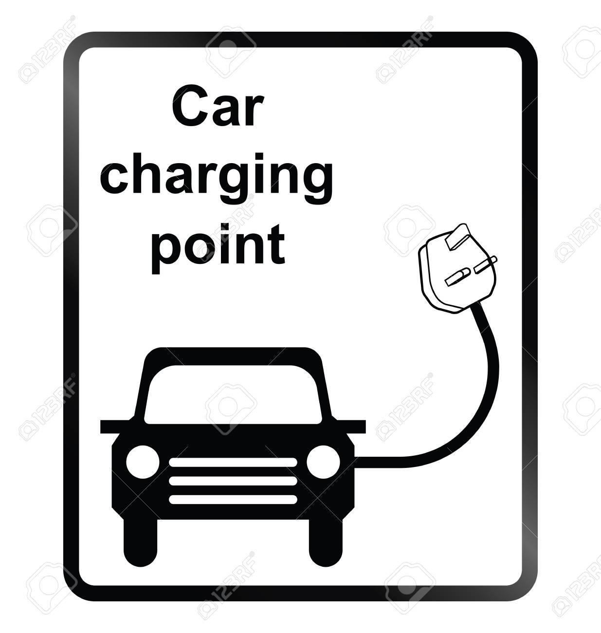 Monochrome Oplaadpunt Voor Elektrische Auto Publieke Informatie