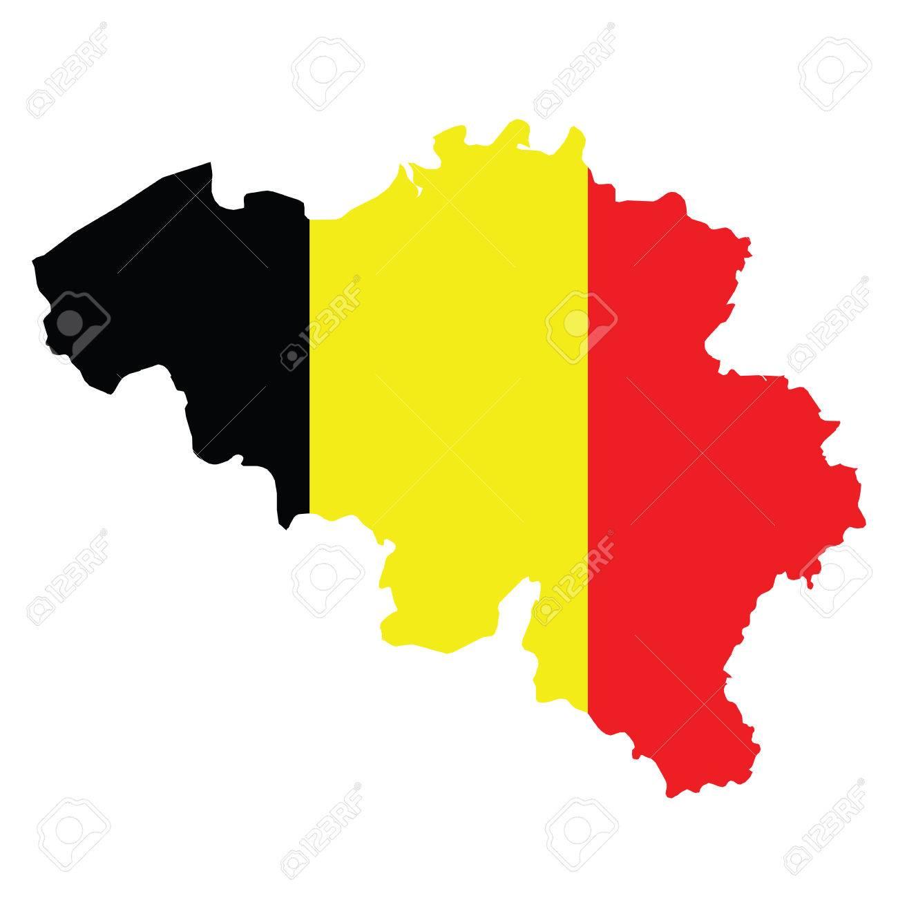 Vlag Van Het Koninkrijk Belgie Overlay Op Blinde Kaart Geisoleerd