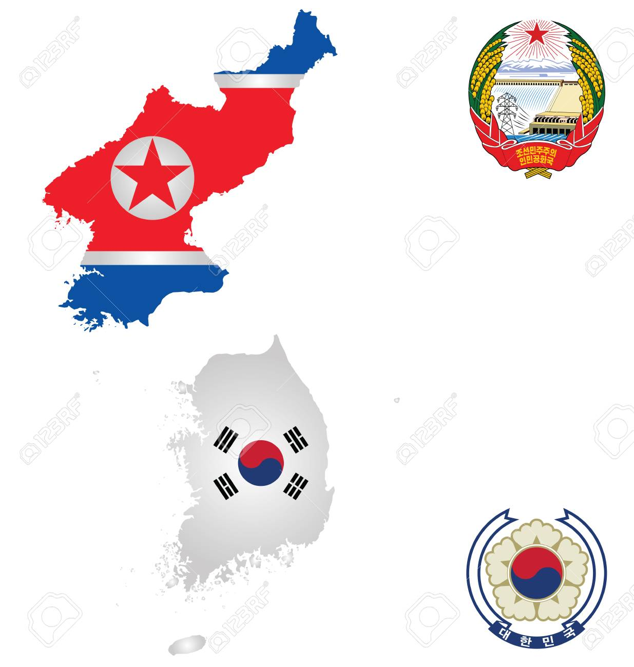 Flags And National Emblems Of The North And South Korea Overlaid