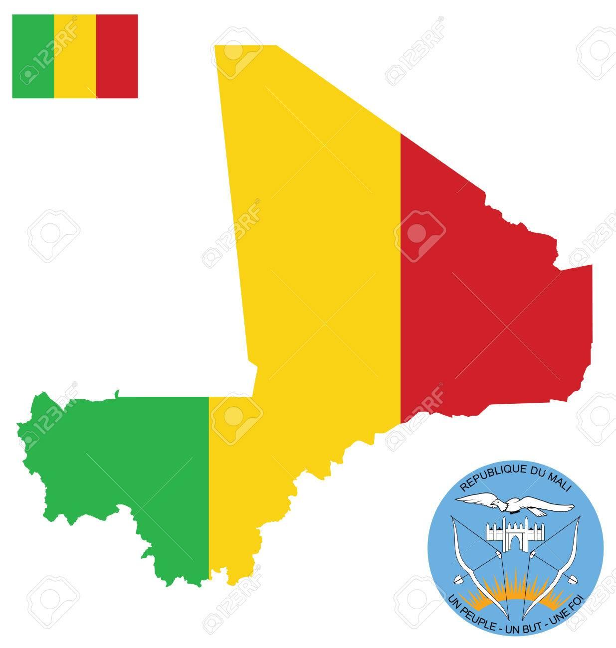 Drapeau Et Armoiries Nationales De La Republique Du Mali