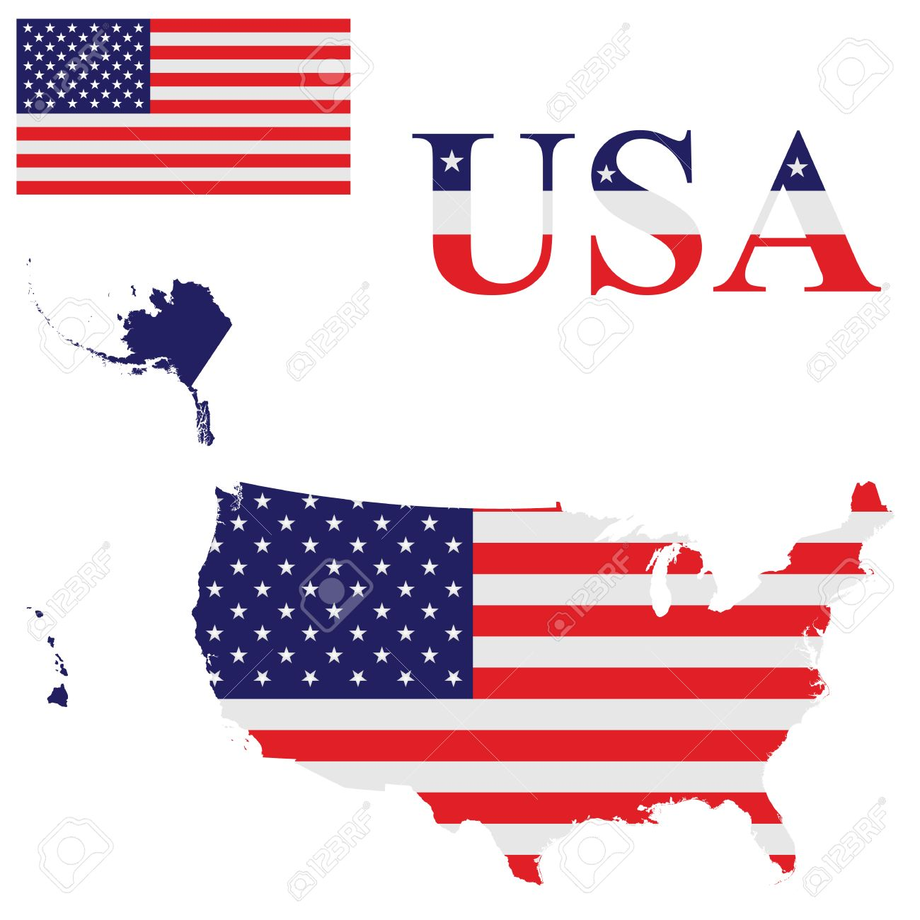Flag Of The United States Of America Including Alaska And Hawaii ...