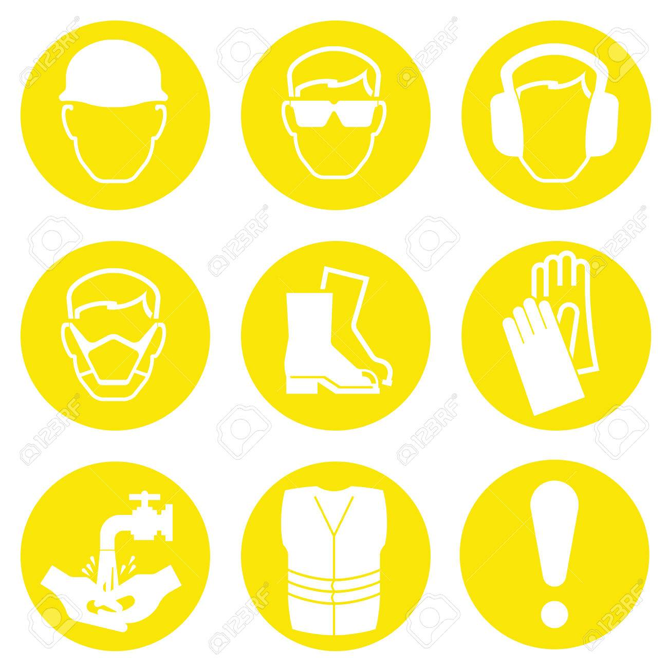 yellow construction industry health and safety icons isolated
