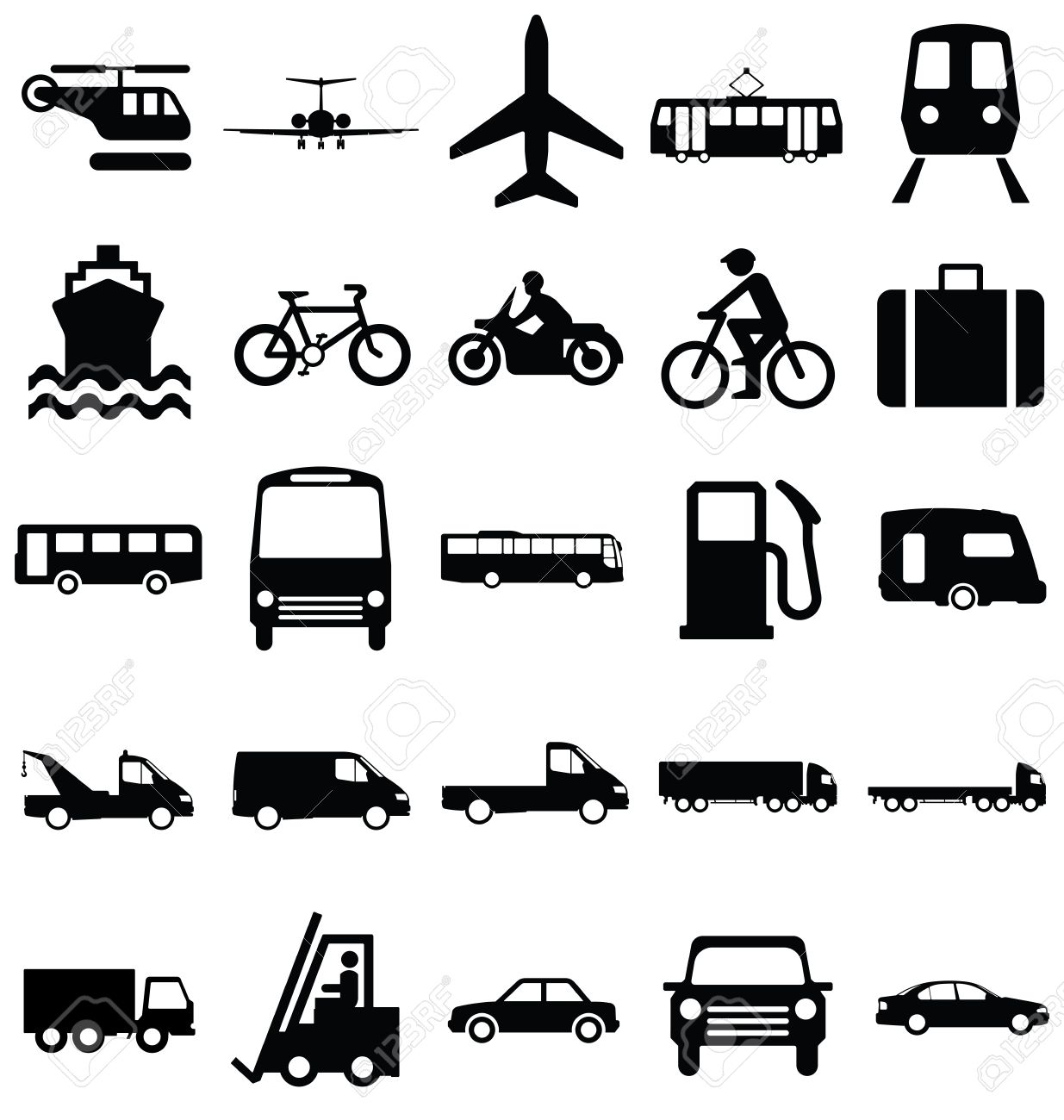 Black And White Silhouette Transport Travel Related Graphics Collection Isolated On Background Stock Vector