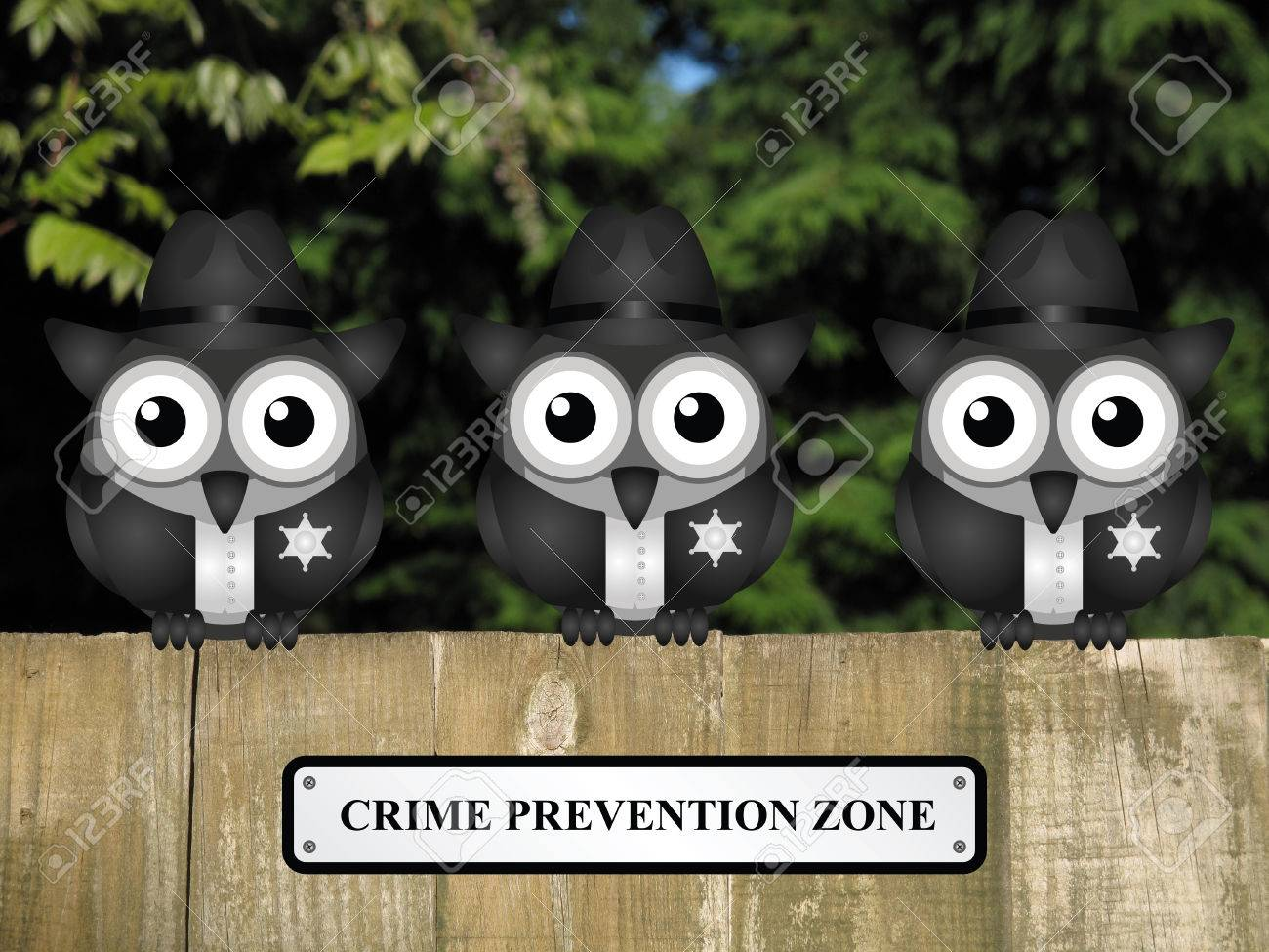 Comical british bird policemen with crime prevention zone sign comical british bird policemen with crime prevention zone sign perched on a timber garden fence against baanklon Gallery