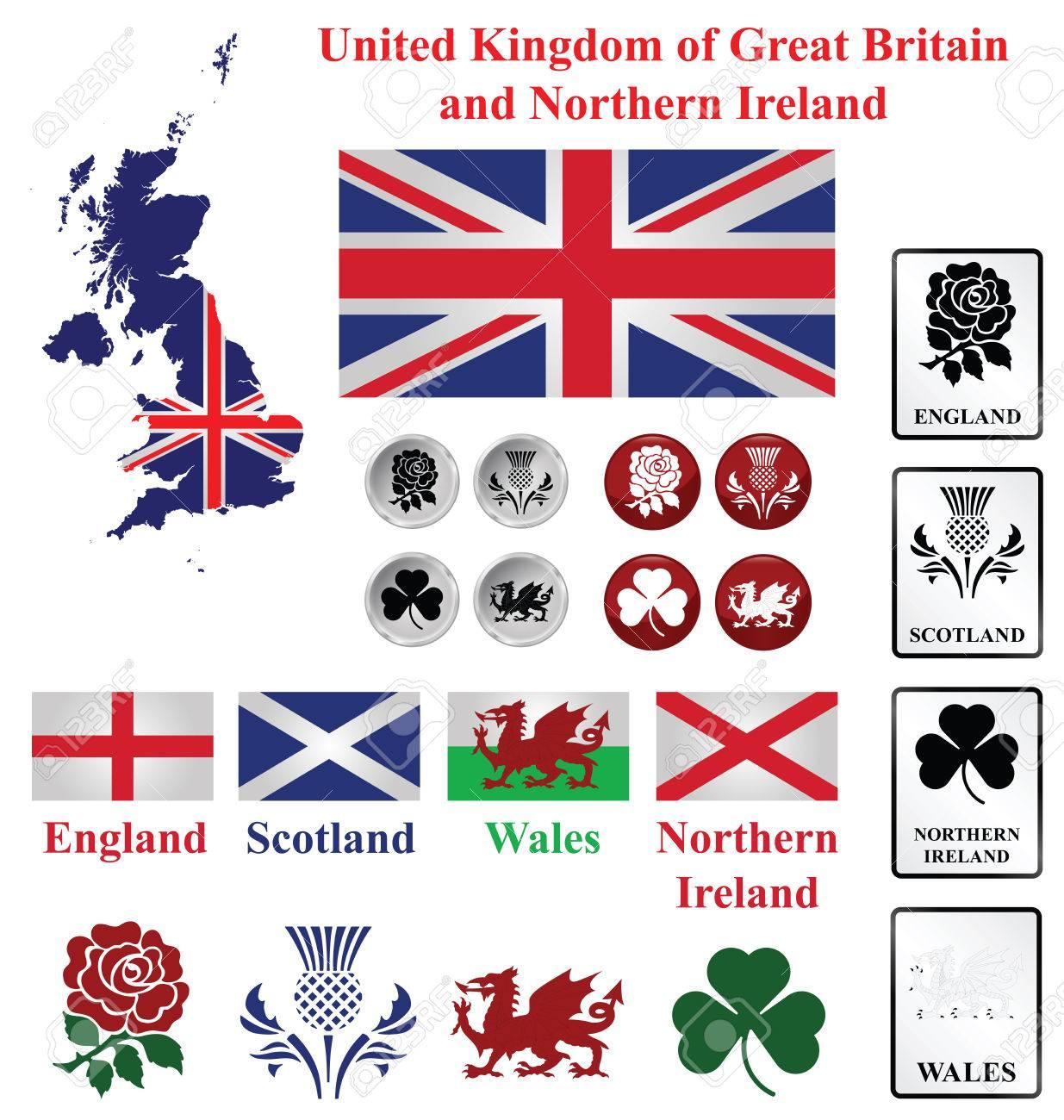 Carte Angleterre Irlande Ecosse.Royaume Uni Collection De Carte Drapeaux Et Emblemes Nationaux De L
