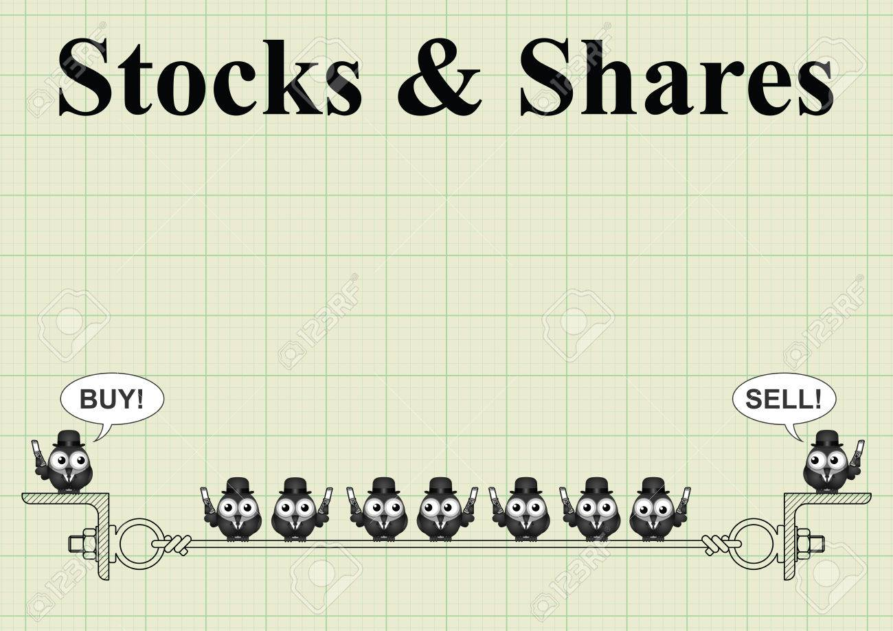 stock and shares with city traders buying and selling on graph