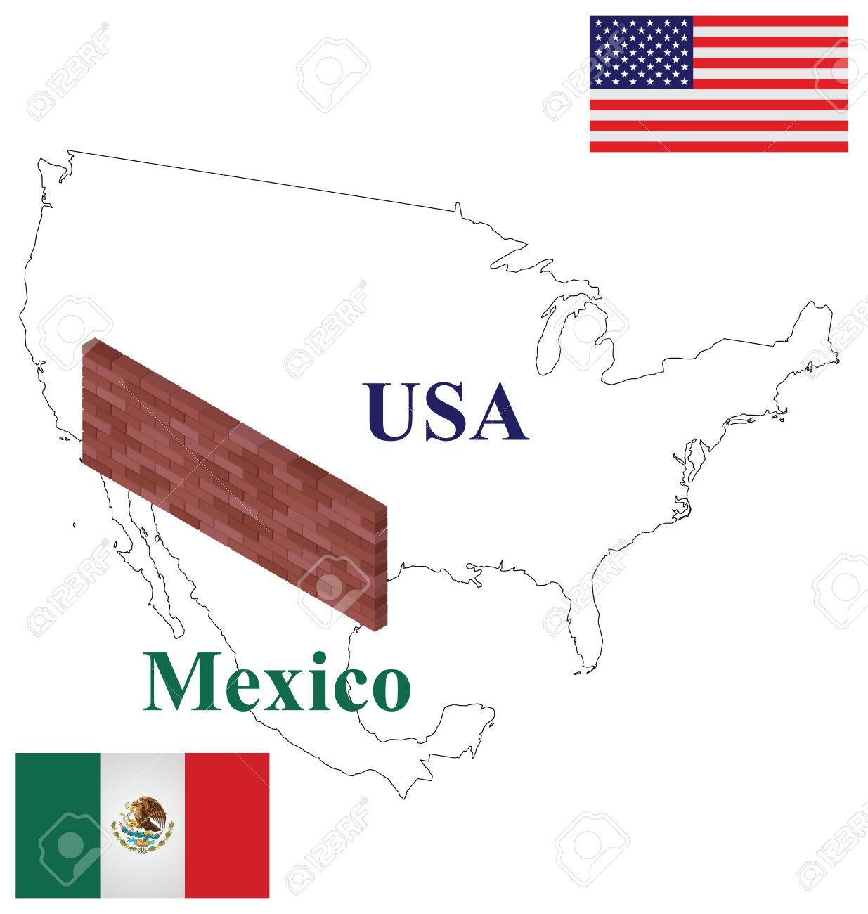 Outline USA Mexico Map With Brick Wall At Border To Stop Illegal ...