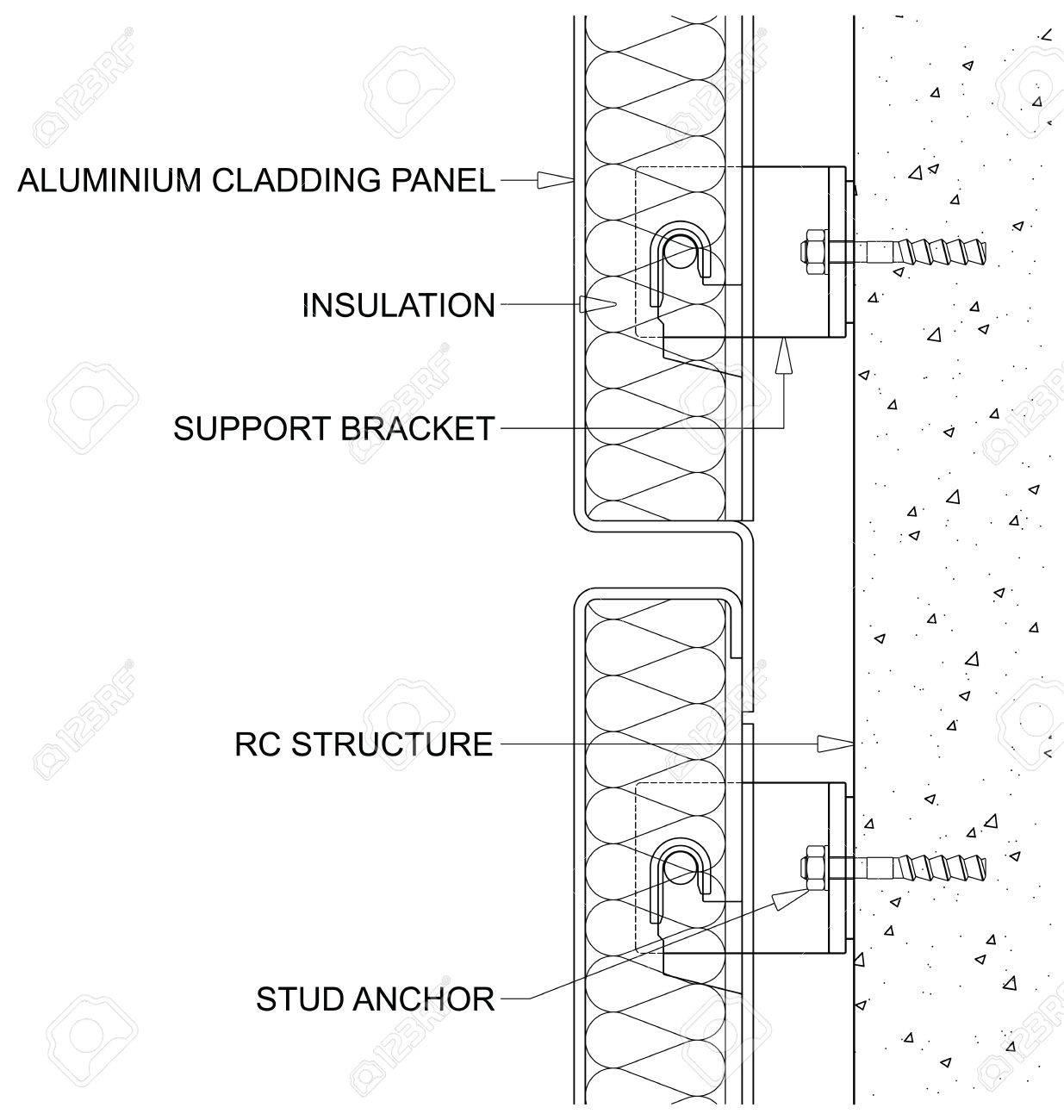 generic line diagram of a cross section through rainscreen aluminium..  royalty free cliparts, vectors, and stock illustration. image 84406690.  123rf.com