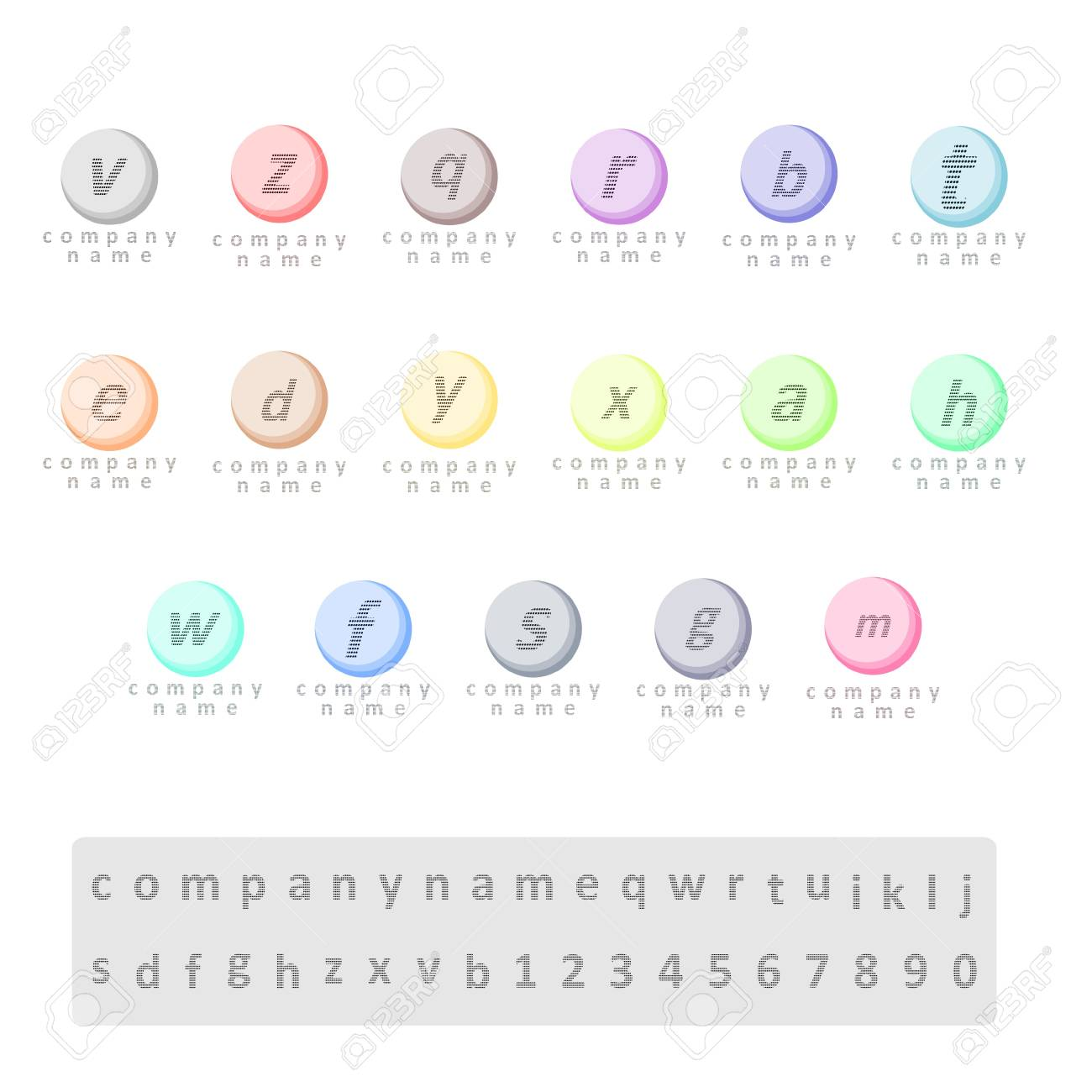 A set of logos of different colors one letter of small spots a set of logos of different colors one letter of small spots on the background spiritdancerdesigns Images