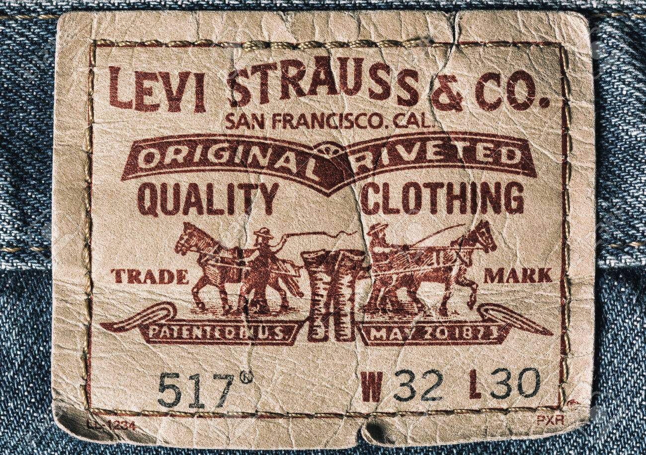 0d6f5f9a724 LEVI'S leather label on the blue jeans. LEVI'S is a brand name of Levi  Strauss