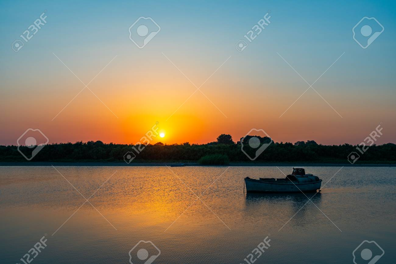 Amazing beautiful sunset on the river - 106223548