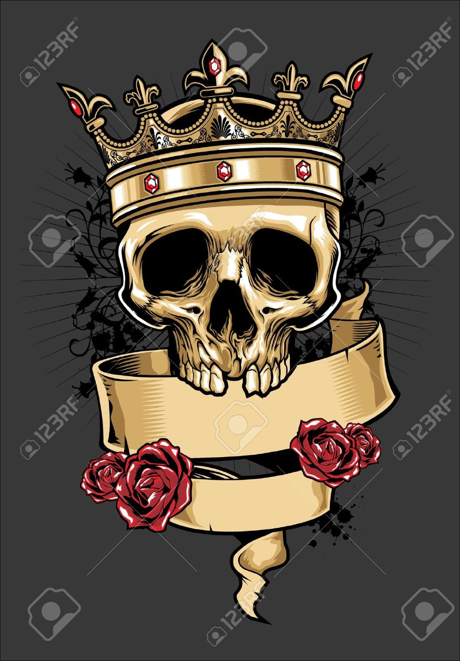vector skull wearing a crown - 18727083