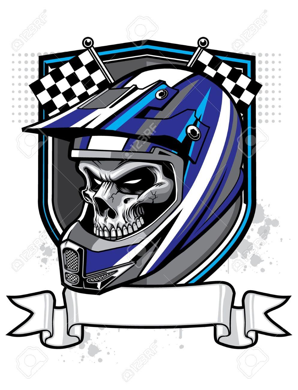vector skull wearing trail helmet and banner - 18727063
