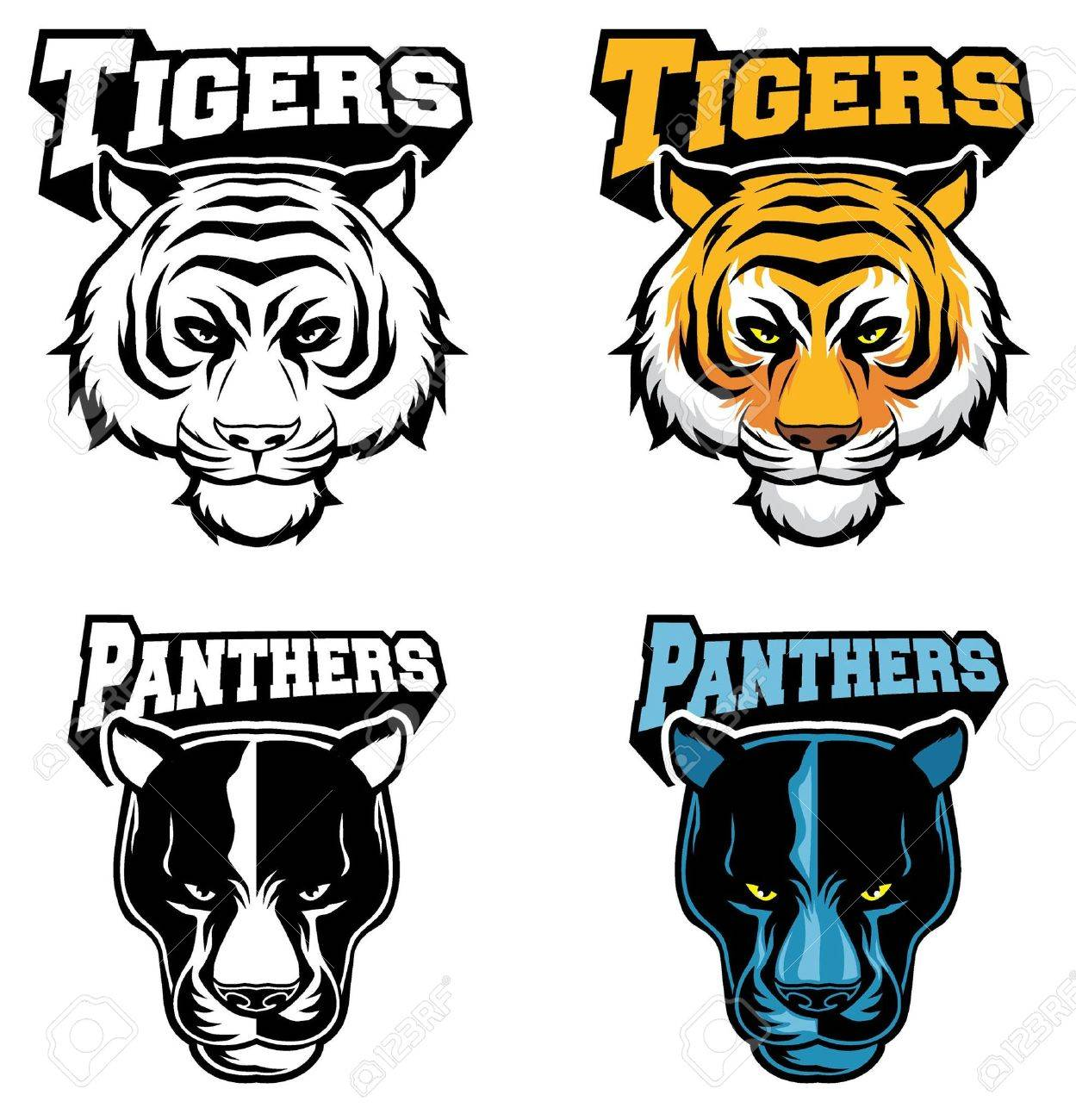 Tiger and panther head in vector - 18727080