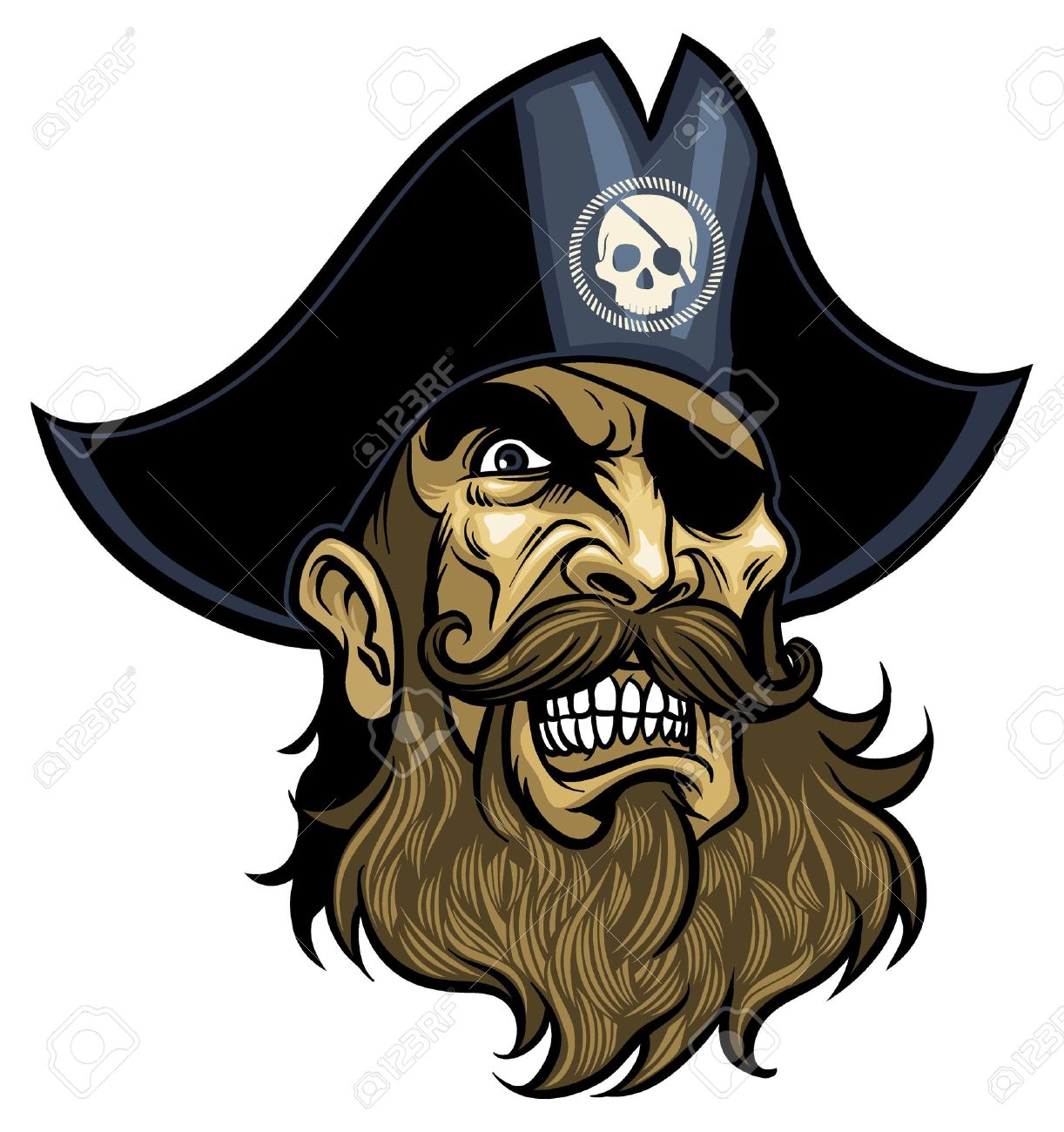 Angry Pirate face, wearing hat and eye patch - 18967632