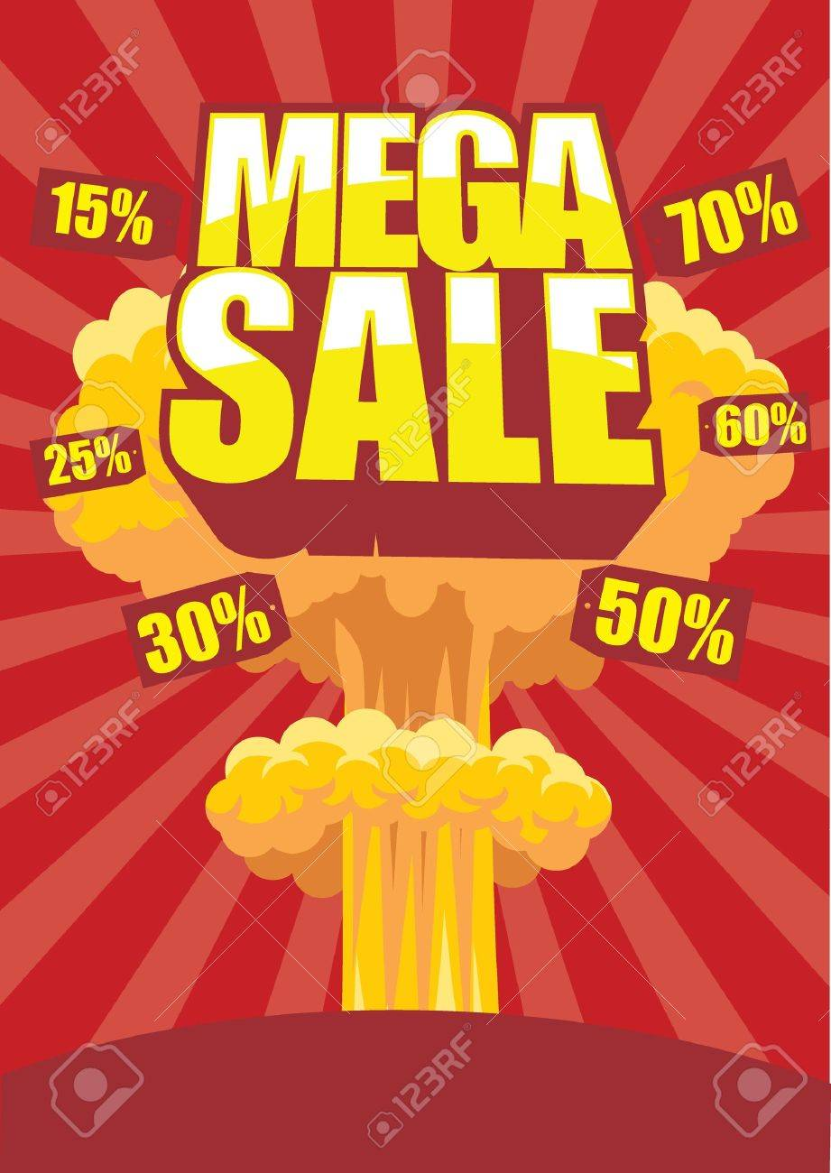 Mega sale poster with atom bomb effect on a background - 18967630
