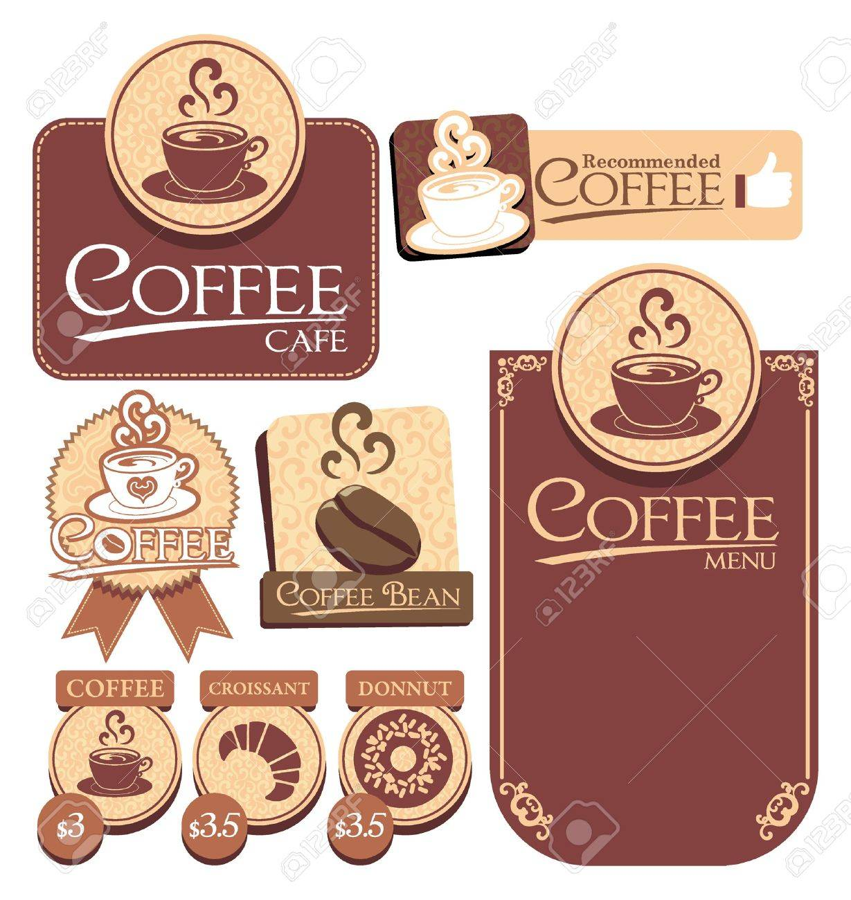 various of vector coffee label - 19867567