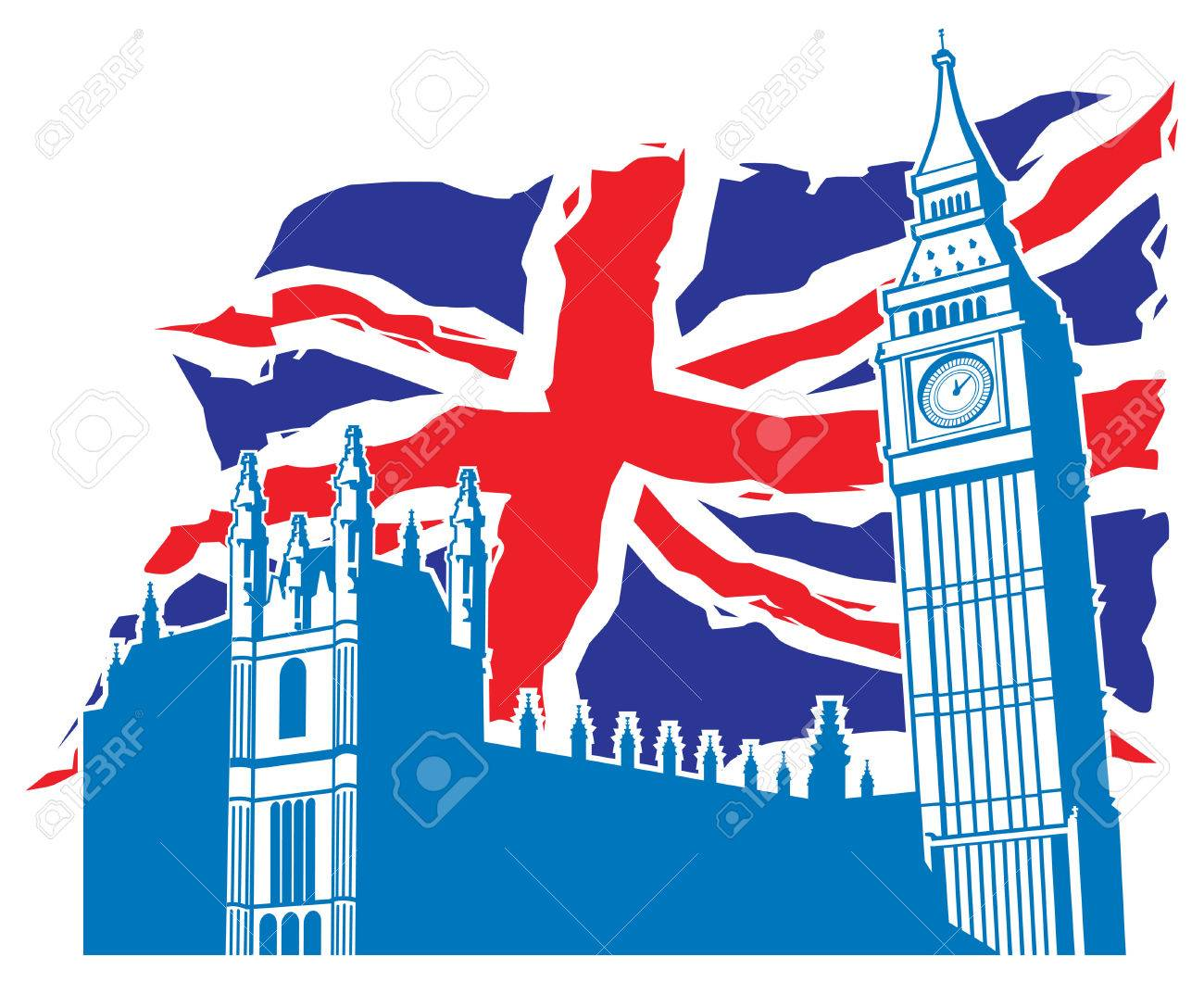 London Big Ben And Palace With United Kingdom Flag Background Stock Vector