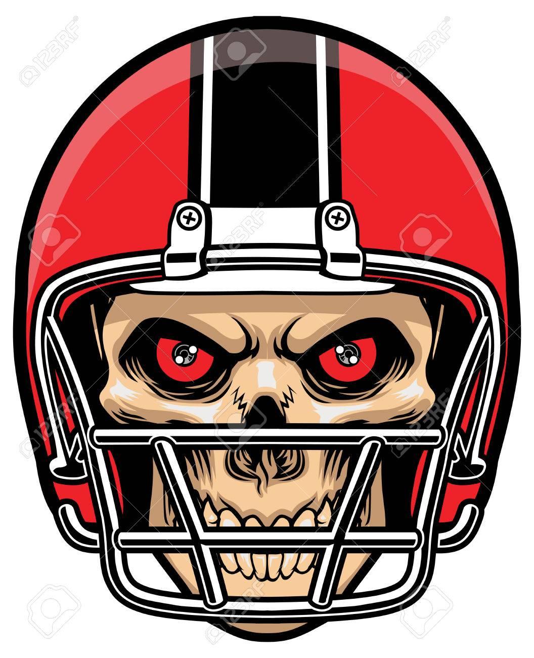 skull of football player wearing a helmet - 59267190