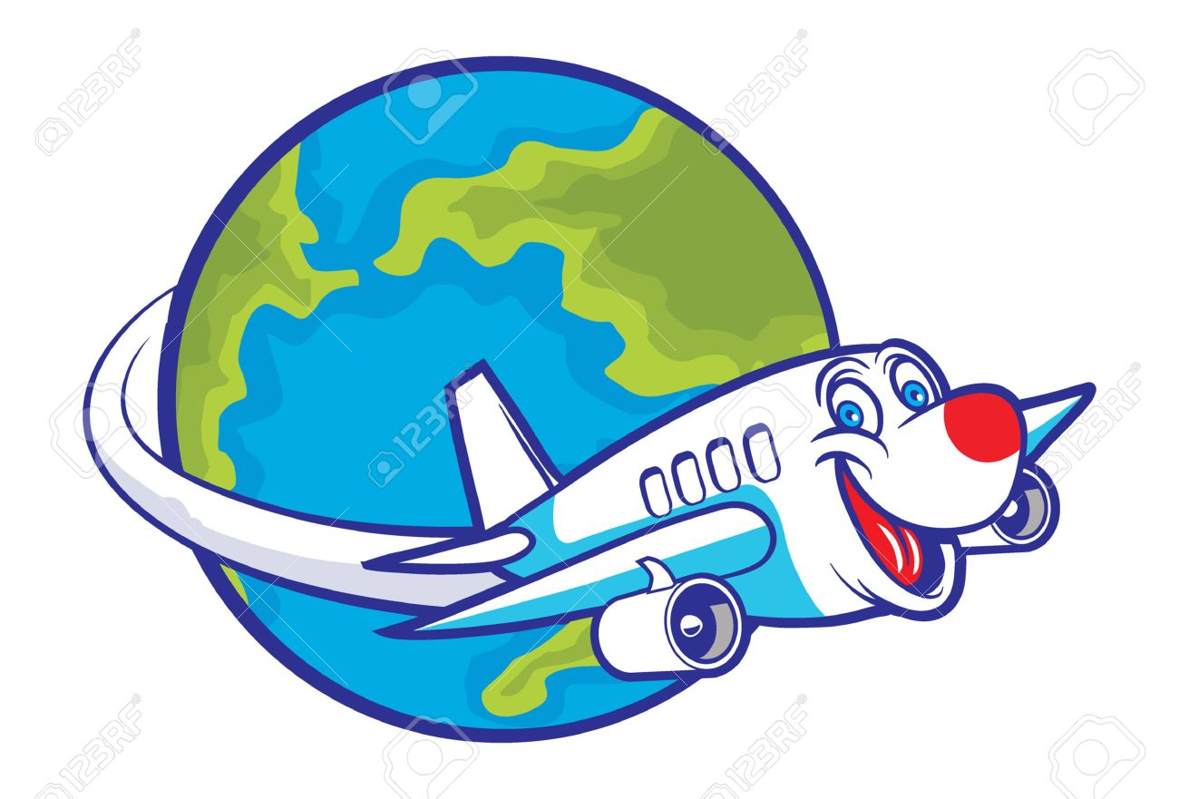 cartoon plane flying around the globe royalty free cliparts vectors rh 123rf com plane cartoon video plane cartoons for kids