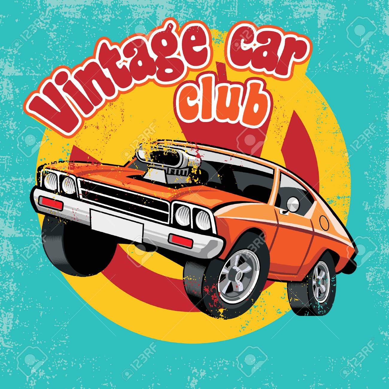 vintage club car design in vintage style - 91884601