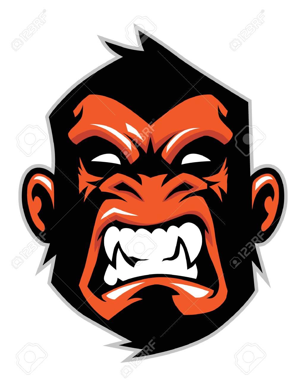 angry monkey head Vector illustration. - 91884604