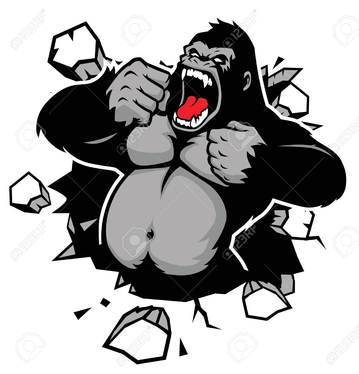 angry of gorilla breaking the wall - 92914466