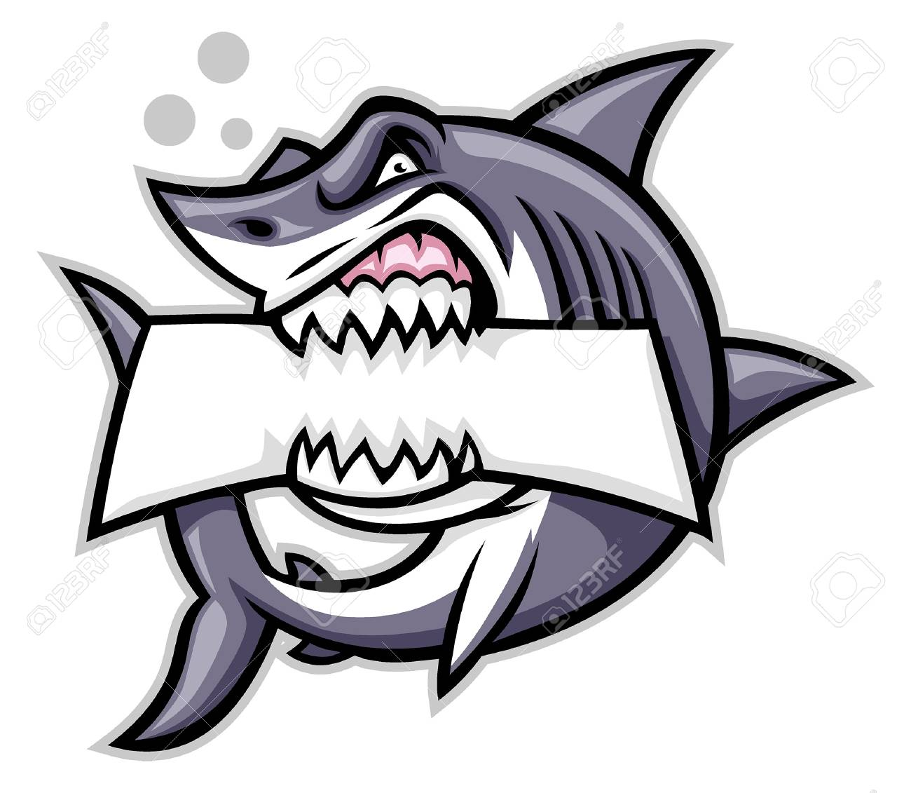 angry shark mascot bite the text space - 117123947