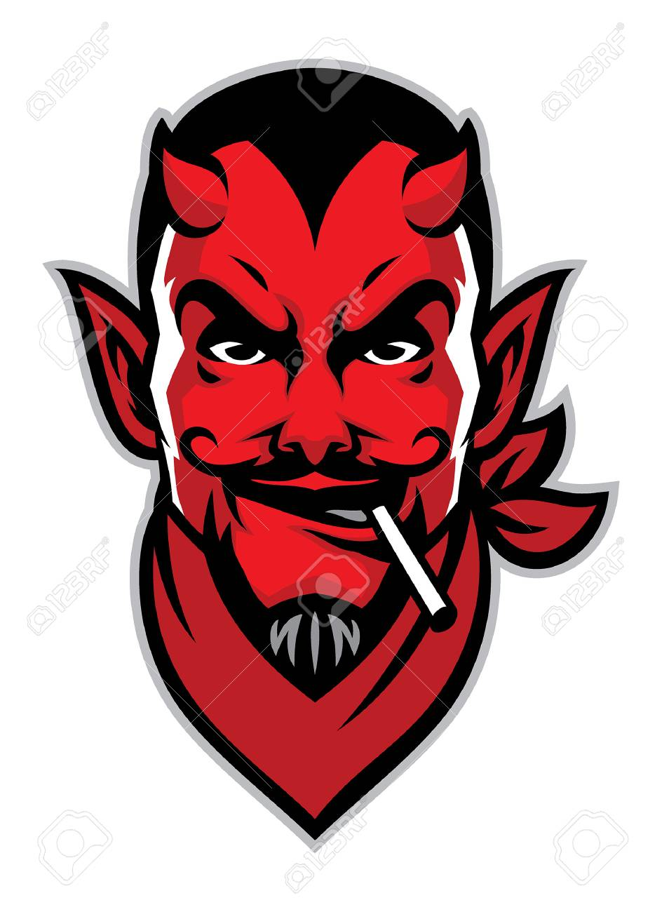 head mascot of devil with cigarette on his mouth - 120647251