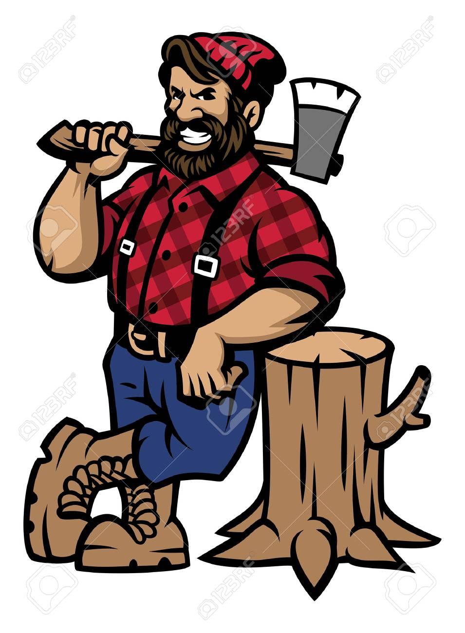 cartoon lumberjack mascot lean on the log wood - 121632004